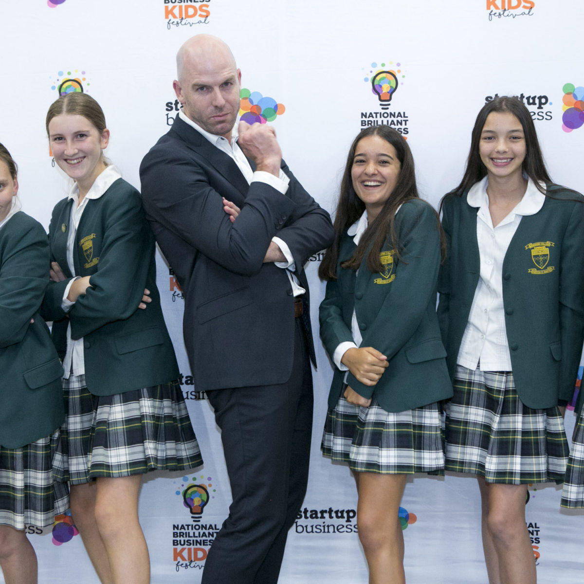 Students from Brigidine College Randwick with teacher Richard Hainsworth