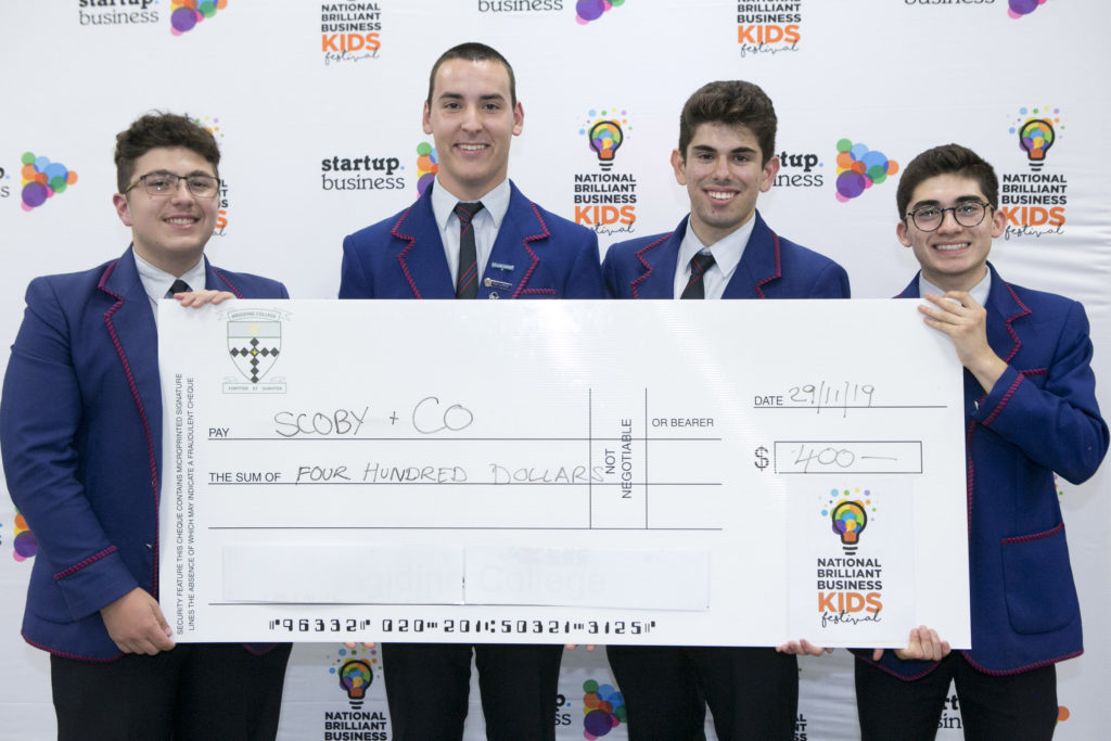 The boys from Marcellin College Randwick won the Sustainability pitch final